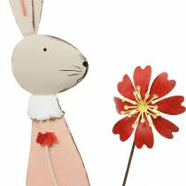 Décoration de Pâques, lapin en métal, décoration de printemps, lapin de Pâques avec fleur 61cm