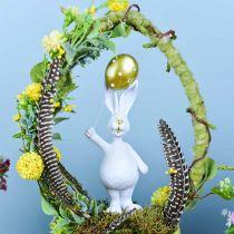 Lapin de Pâques avec ballon debout or blanc H18cm 2pcs