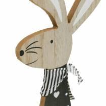 Lapin de Pâques noir et blanc décoration de Pâques lapin en bois figure lot de 2
