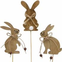 Lapin de Pâques sur un bâton bouchon décoratif lapins bois nature décoration de Pâques 24pcs