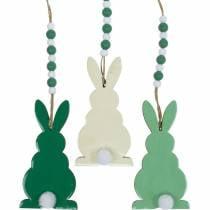 Lapins de Pâques à suspendre, décorations de printemps, pendentifs, lapins décoratifs vert, blanc 3pcs