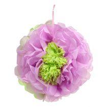 Fleur en papier,Ø 28 cm  à suspendre, vert et mauve,