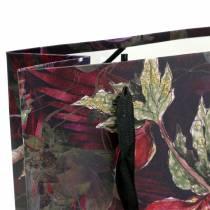 Sac cadeau fleurs or 18cm x 8cm H24cm