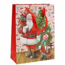 """Sac cadeau sac en papier """"Père Noël"""" H24cm"""
