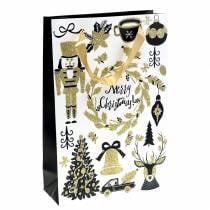 """Sac Cadeau Sac En Papier """"Joyeux Noël"""" Paillettes Dorées H30cm 2pcs"""