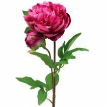 Fleur artificielle pivoine avec fleur et bourgeon magenta violet 68cm