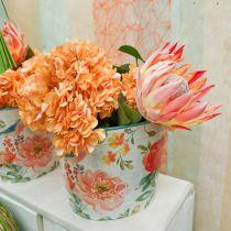 Seau à plantes ovale vintage en métal à décor de printemps jardinière 27,5 cm