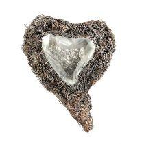 Corbeille coeur blanchie pommes de pin 29 x 20 cm 2 p.