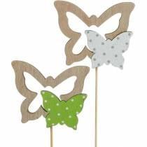 Bouchon de plante papillon sur bâton bois décoration de printemps 16pcs