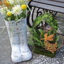 Cache-pot abeille métal blanc décoration de jardin vintage H31cm