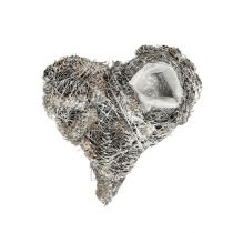 Coeur à garnir blanchi avec pommes de pin 20 x 20 cm 3 p.