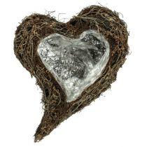Cœur à garnir en sarments de vigne 30 x 40 x 7,5 cm nature