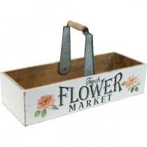 Boîte à plantes, décoration florale, boîte en bois pour la plantation, boîte à fleurs look nostalgique 41,5 × 16cm