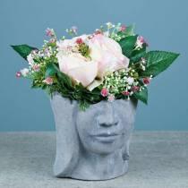 Buste tête de plantation en béton pour plantation gris H14,5cm 2pcs