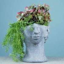 Buste tête de plantation en béton pour plantation gris H23,5cm