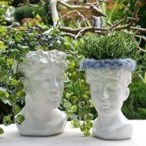Tête de plante buste femme vase en céramique blanche pot de fleur H22.5cm