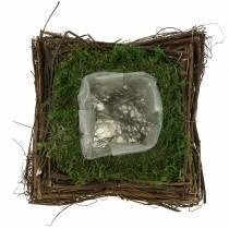 Coussin végétal en rotin, mousse 20cm x 20cm H8cm