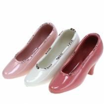 Chaussure de planteur pour femmes en céramique crème, rose, rose assorties 20 × 6cm H12cm 3pcs