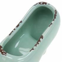 Chaussure de planteur pour femmes en céramique turquoise, vert, bleu gris assorti 14 × 5cm H7cm 6pcs