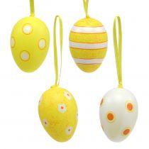 Œufs en plastique à suspendre jaune 6 cm 12 p.