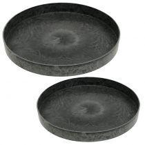 Assiettes en plastique set de 2 gris Ø22cm - 27cm