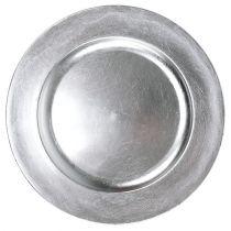 Assiette en plastique argent Ø 17 cm 10 p.