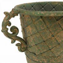 Tasse à planter, calice avec anses, vase en métal aspect antique Ø15,5cm H23,5cm