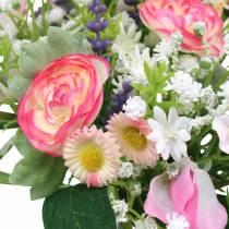 Bouquet artificiel avec renoncule et Bellis Rosa, blanc Ø20cm