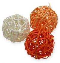 Balles en rotin 5 cm orange abricot 30 p.