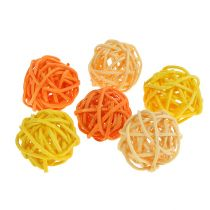 Balle en rotin orange, jaune, abricot 72 p.
