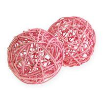 Boule de rotin 10 cm rose 10 p.