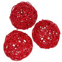 Boule rotin rouge Ø7,5cm 15pcs