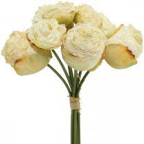 Roses artificielles, fleurs en soie, bouquet de roses blanc crème L23cm 8pcs