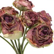 Roses vieux rose, fleurs en soie, fleurs artificielles L23cm 8pcs
