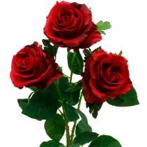 Fleurs de soie roses artificielles roses rouges 3pcs