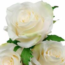 Rose blanche sur tige, fleur en soie, rose artificielle 3pcs