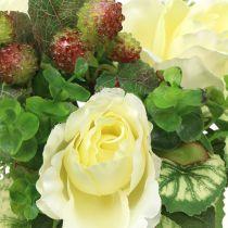 Bouquet de roses / hortensia blanc aux baies 31cm