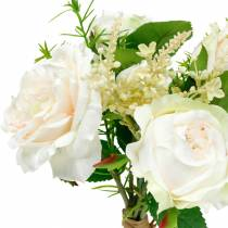 Bouquet de roses artificielles Fleurs en soie crème dans un bouquet
