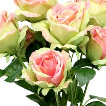 Rosier artificiel vert, rose 55cm
