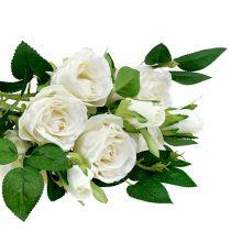 Bouquet de roses en blanc L46cm