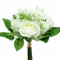 Bouquet de roses avec gypsophile blanc 26cm