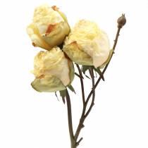 Branche de rose artificielle blanc crème 45cm