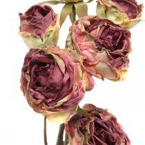 Rose artificielle, décoration de table, fleur artificielle rose, branche de rose aspect antique L53cm