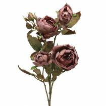 Branche de rose artificielle violette 76cm