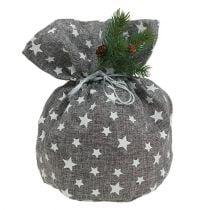 Sacoche grise avec étoiles Ø 23 cm H. 35 cm