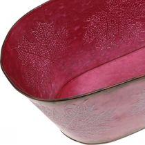 Bol à décor de feuilles, jardinière, décoration automne, pot métal vin rouge L38cm H15cm