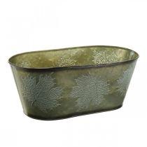Jardinière pour l'automne, décoration métal avec décoration feuille verte L38cm H15cm