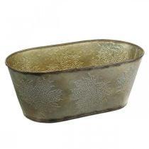 Pot d'automne, bol jardinière avec feuilles, décoration métal doré L38cm H15cm