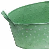 Bol en zinc avec poignées ovale à pois vert, lavé blanc 39.5x18cm H14cm