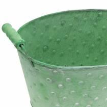 Cache-pot décoratif métal vert ovale 25,5x18,5cm H13cm